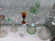 TWO OIL LAMP SHADES AND VARIOUS GLASSWARES.