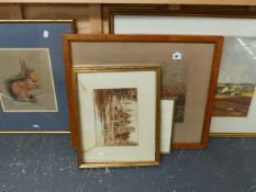 THREE WATERCOLOURS, A PASTEL STUDY AND A HUNTING PRINT.