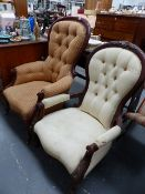 TWO VICTORIAN BUTTON BACK CHAIRS.