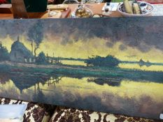 A LARGE OIL PAINTING SIGNED INDISTINCTLY.