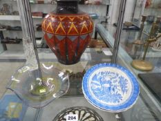 TWO SPODE FLUTED PLATTERS, A POTTERY VASE AND TWO PIECES OF ART GLASS.