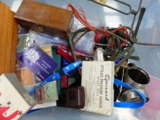 COLLECTABLES TO INCLUDE DARTS, GARRARD PRESSURE GUAGE, VINTAGE RAZORS, MATCHBOX CARS, CASED MATCHES,