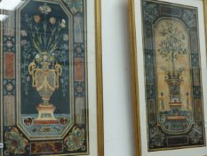 TWO LARGE DECORATIVE PRINTS IN GILT FRAMES.