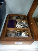 A BOX OF COSTUME JEWELLERY AND WATCHES.