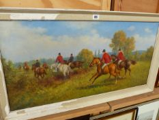 A LARGE OIL ON CANVAS, HUNTING SCENE.