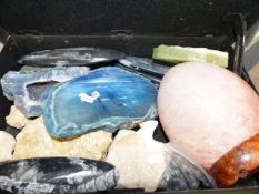 A BOX OF FOSSILS AND CRYSTALS ETC.