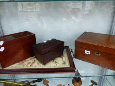 A VICTORIAN WRITING BOX, A TEA CADDY, A TRAY AND A PHOTOGRAPHIC SLIDE CARRIER.