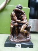 A BRONZE FIGURE THE LOVERS.