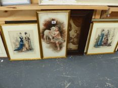 A QTY OF ANTIQUE AND LATER DECORATIVE PRINTS.