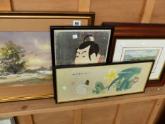 A WATERCOLOUR, TWO ORIENTAL PRINTS AND ONE OTHER.