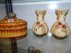A PAIR OF ROYAL WORCESTER VASES AND A FRENCH GAME DISH.