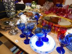 FIVE CRANBERRY WINE GLASSES, AN ORIENTAL STYLE LAMP, TWO MIRRORS, A SMALL CHANDELIER, CUTLERY,ETC.