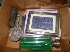 THREE SILVER PHOTO FRAMES, SILVER MOUNTED BOTTLE,ETC.