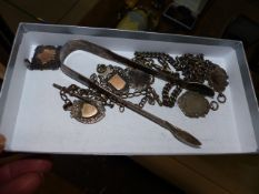 A QTY OF SILVER FOBS,ETC.