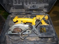 A DE WALT POWER TOOL SET, A HITACHI HAMMER DRILL AND STONE BORING CUTTERS.