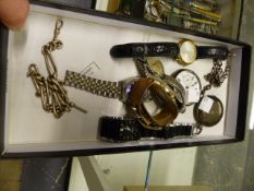 TWO SILVER CASED POCKET WATCHES, VARIOUS WRISTWATCHES AND TWO SILVER WATCH CHAINS.