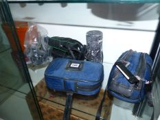 A PAIR OF REGENT BINOCULARS, A POCKET TELESCOPE T/W CAMERAS AND ACCESSORIES