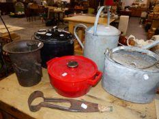 A CAST IRON MORTAR, PANS,ETC.
