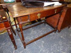 AN 18th.C.OAK SIDE TABLE.