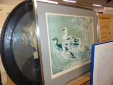 A PENCIL SIGNED PRINT AFTER TUNNICLIFFE AND A PORTRAIT ENGRAVING.