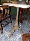 A TREADLE SEWING MACHINE CAST IRON TABLE.