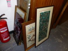 TWO SILK EMBROIDERED PANELS,ETC.