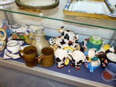 TWO LEACH POTTERY MUGS AND VARIOUS OTHER ITEMS.