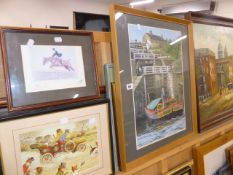 A WATERCOLOUR CANAL BOAT AND VARIOUS PRINTS AND PICTURES.