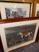 TWO COLOURED HUNTING PRINTS AND A WATERCOLOUR.