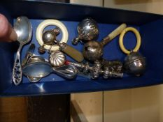 VARIOUS SILVER BABY'S RATTLES, SPOONS,ETC.
