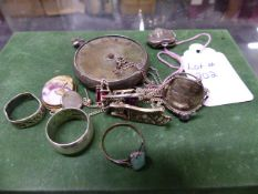 A QUANTITY OF SILVER HALLMARKED AND COSTUME JEWELLERY.