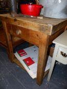 A PINE KITCHEN PREP TABLE.