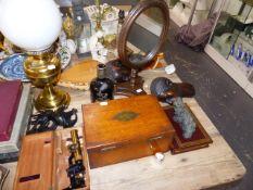 AN OIL LAMP, MICROSCOPE, VICTORIAN WORK BOX,ETC.