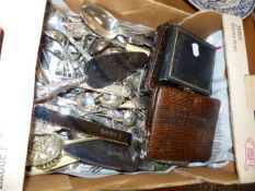 A QTY OF SILVER PLATED CUTLERY.
