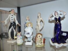 A GOEBELS FIGURINE, TWO BESWICK BEATRIX POTTER FIGURES AND VARIOUS OTHERS.