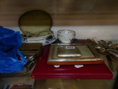 A COLLECTION OF JEWELLERY, POCKET KNIVES, CIGARETTE CASE, SILVER FRAME, SILVER LIDDED BOX, CUTLERY,