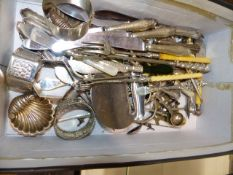 A QTY OF SILVER AND PLATED CUTLERY, NAPKIN RINGS,ETC.