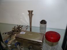 A SMALL SILVER VASE, CUTLERY,ETC.