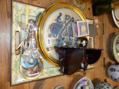 AN EASTERN EMBROIDERED PANEL, VINTAGE CUTLERY, A CORNER SHELF,ETC.