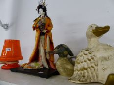 A RETRO LAMP, ORIENTAL FIGURE AND TWO DUCKS.