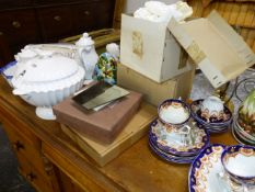 VARIOUS CHINA, GLASS AND TABLE LINENS.