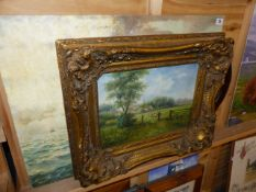 A MODERN GILT FRAMED OIL PAINTING, AN OVAL MIRROR AND AN OIL PAINTING SAILING SHIP.