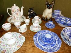 A MINTONS COFFEE SERVICE, VARIOUS SPODE AND OTHER BLUE AND WHITE CHINA, A WINSTANLEY CAT,ETC.
