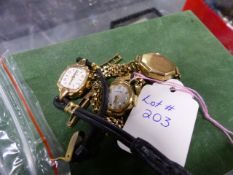 THREE GOLD LADIES WATCHES TO INCLUDE A HIRO WATCH WITH A 9ct GOLD STRAP, AN F.YATES WITH A 9ct