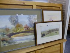 A WATERCOLOUR SIGNED GOULDING AND THREE FURTHER PICTURES.
