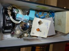 A QTY OF SILVER AND OTHER DRESS JEWELLERY,ETC.