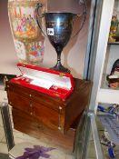 A VICTORIAN WORK BOX, A WRITING BOX, AN EGYPTIAN SILVER BRACELET AND AN RAF YACHT CLUB TROPHY.