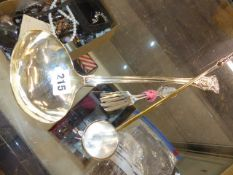 A GEORGIAN HALL MARKED SILVER LADLE WITH 49th REGIMENT CREST AND A CANDLESNUFFER.