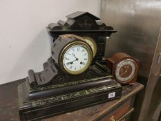 TWO VICTORIAN SLATE AND MARBLE MANTLE CLOCKS AND ONE OTHER.