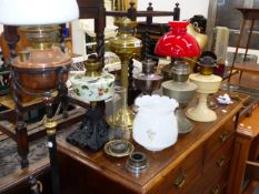 VARIOUS VICTORIAN AND LATER OIL LAMPS AND A WARMING PAN.